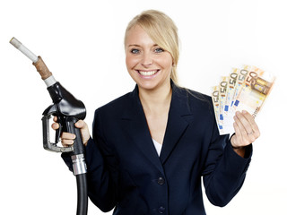Business woman saves ready cash for fuel