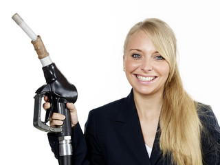 Business woman with fuel nozzle