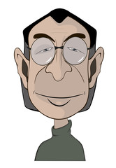 A man's in glasses portrait caricature