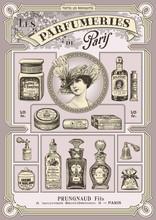 ensemble de parfum français et illustrations cosmétiques