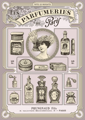 set of french perfume and cosmetics illustrations