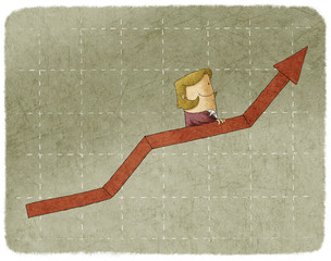 Businesswoman going up in arrow graph escalator