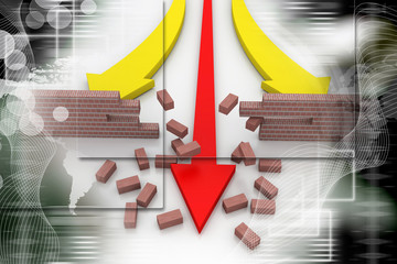 3d illustration of arrow breaking break wall