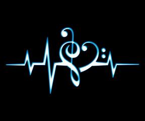 Musik Noten Herz, Puls, Frequenz, Herzschlag