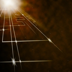 Laser Circuit Background Shows Shining Lines Or Concept.