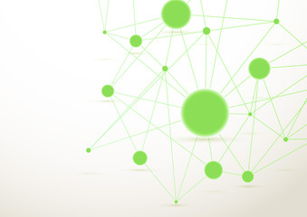 Bright green connected dots background