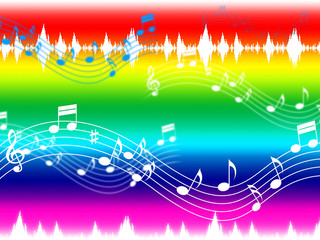 Rainbow Music Background Shows Musical Piece And Instruments.