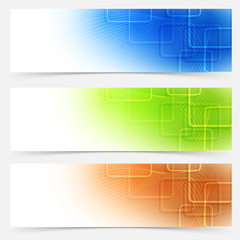 Bright web headers templates colorful collection