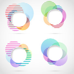Retro striped circular design elements