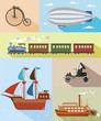Vector illustration of vintage means of transportation