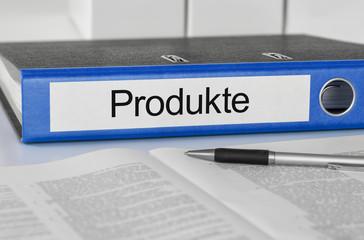 Aktenordner mit der Beschriftung Produkte