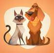 Cat and dog. Cartoon style vector illustration.