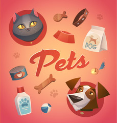 Pets background. Cartoon styled vector illustration. © Diashule