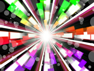 Wheel Background Shows Rainbow Beams And Bubbles.