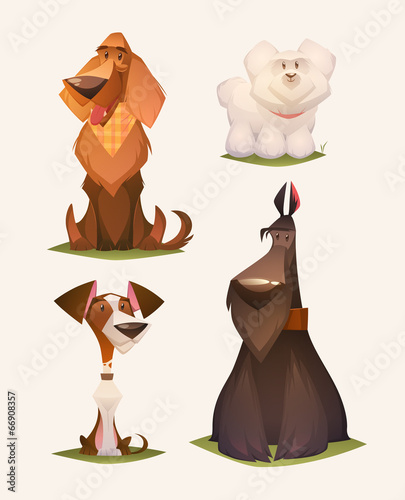 Fototapeta Dog characters. Cartoon vector illustration.