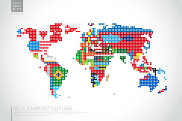 Infographics World map from dots with pointer marks, communicati