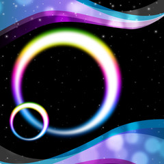 Rainbow Circles Background Means Night Sky And Ripples.