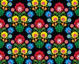 Seamless Polish folk art floral pattern - wzory lowickie - 66909175