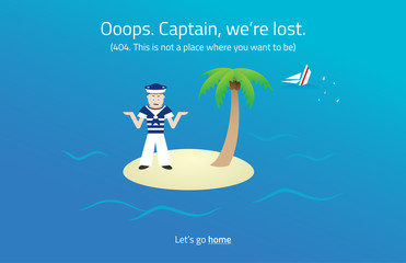 404 web page. Sailor on desert island theme.