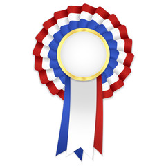 Tricolor rosette with blue, white and red ribbon