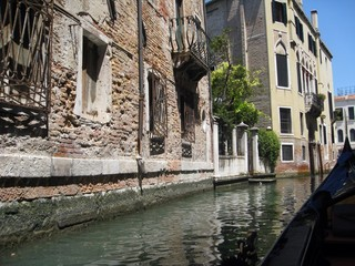 view from gondola in venice
