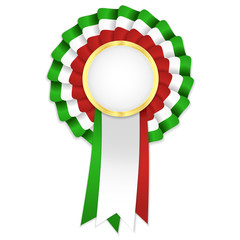 Tricolor rosette with green, white and red ribbon