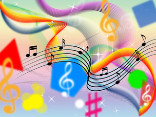 Music Background Means Classical Pop And Colorful Ribbons.