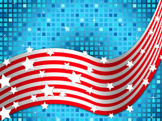 American Flag Background Means Nation And Glittering Squares.