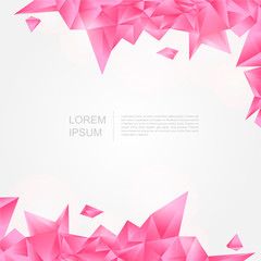 Pink crystal background in polygon and abstract style