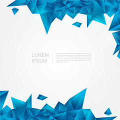 Blue crystal background in polygon and abstract style