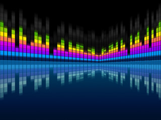 Blue Soundwaves Background Means Musical Frequencies And Songs.