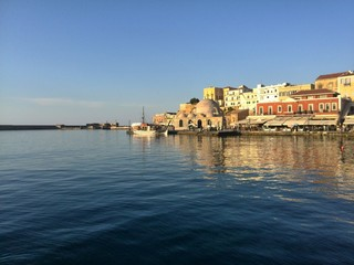 Seaport in chania, crete, greece