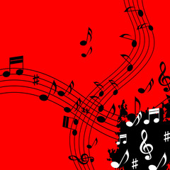 Red Music Background Means Soundwaves Piece And Notes.