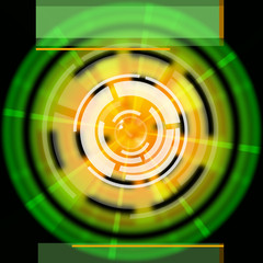 Green Disc Background Shows LP Circles And Rectangles.