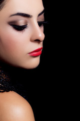 Closeup portrait of fashion makeup