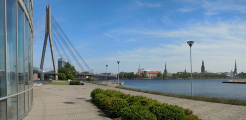 River Daugava Embankment in Riga, Latvia