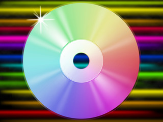 CD Background Shows Music Listening And Colorful Lines.