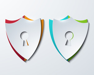 vector modern shield set on sample background.