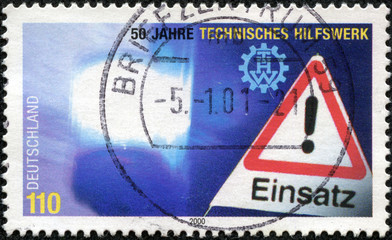 stamp printed by Germany, shows danger sign