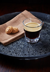 Glass of Espresso with Biscotti