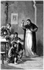 Priest : Blessing Orphans - 19th century