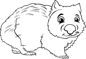 wombat animal cartoon coloring book