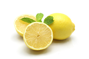 Fresh lemon isolated on white background
