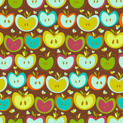 Seamless Pattern With  Vintage Apples
