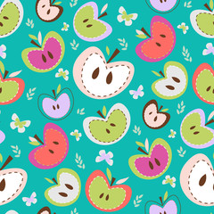 Retro Apples Seamless Background