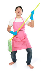 man happy excited during cleaning