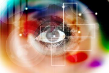 Human eye on technology design background