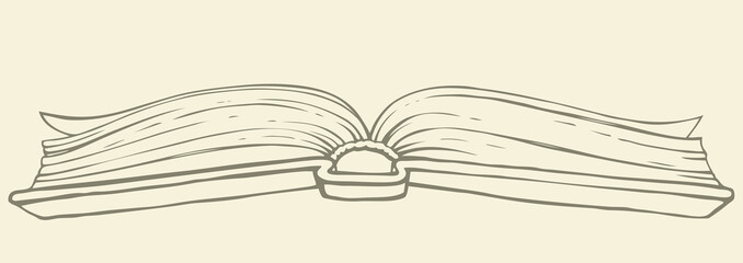 Vector drawing. Open book in hardcover