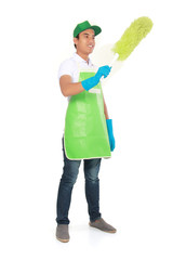 man cleaning using Soft duster