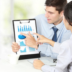 businessman commenting marketing results